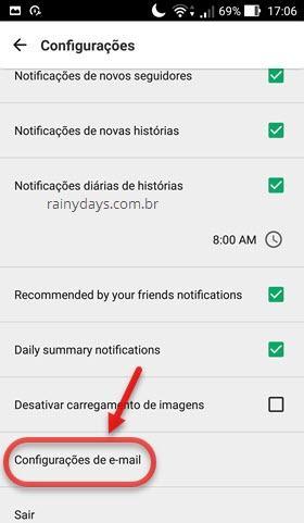 configurações de email Medium Android