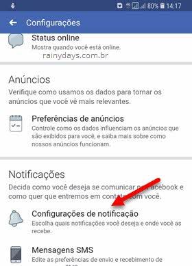 configurações de notificação Facebook app