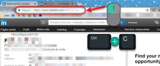 copiar link do perfil do LinkedIn
