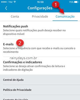 desativar notificações por email app LinkedIn