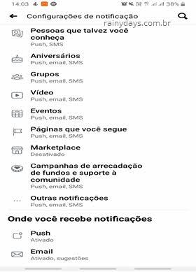 Desativar notificações por email do Facebook pelo aplicativo celular