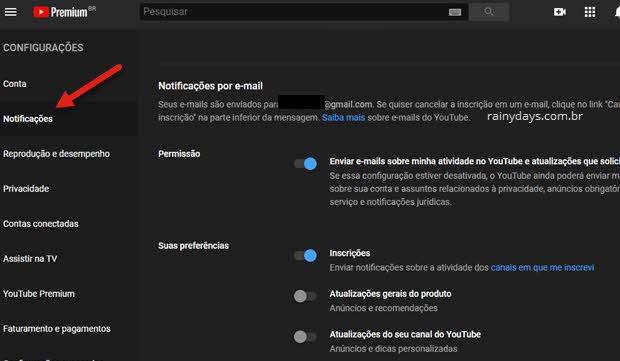 desativar notificações por email no YouTube pelo PC