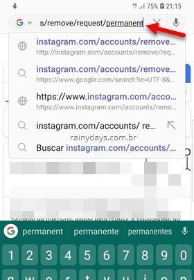 digitando link exclusão de conta Instagram no celular