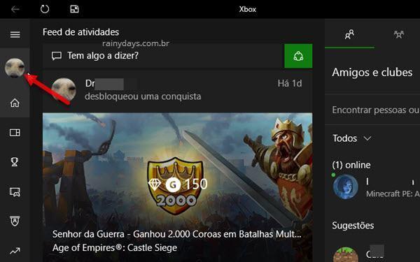 ícone da foto no app do Xbox