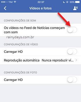 Tirar som dos vídeos Facebook iPhone