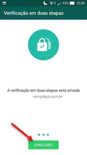 verificação em duas etapas WhatsApp ativada Android