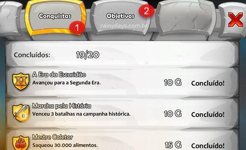 Verificar conquistas e objetivos Age of Empires Castle Siege