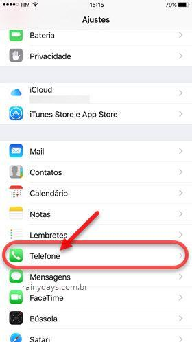 Ajustes Telefone iOS iPhone