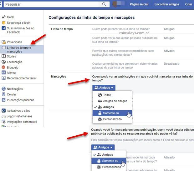 Bloquear marcações no Facebook quem pode ver publicações