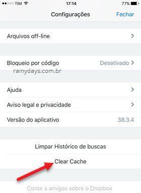 clar cache Dropbox iPhone