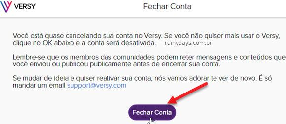 Como excluir conta do Versy