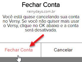 Como excluir conta do Versy 2