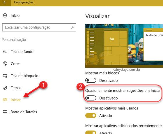 Desativar propagandas no menu iniciar Windows