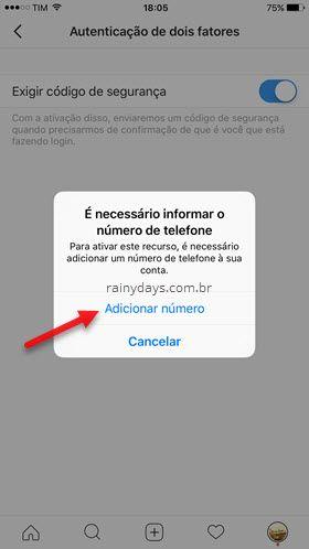 informar número de telefone no Instagram