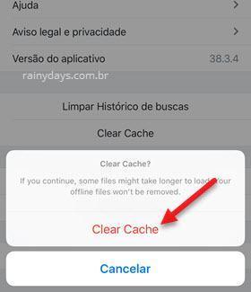 Limpar cache do Dropbox iPhone