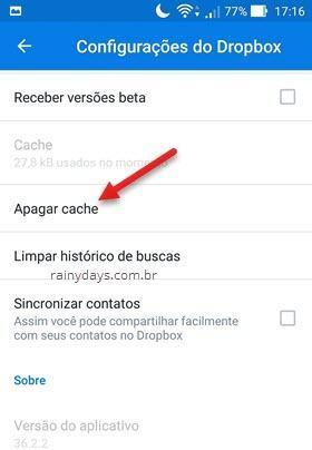 Como limpar cache do Dropbox no Android e iPhone