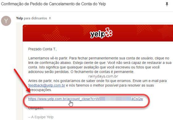 link confirmar exclusão conta Yelp