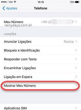 Mostrar Meu Número Telefone iOS iPhone