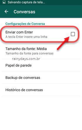 Mostrar o Enter no WhatsApp para saltar linha