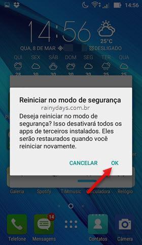 reiniciar em modo de segurança Android
