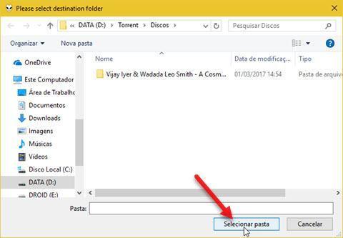 selecionar pasta para salvar arquivos convertidos Foobar