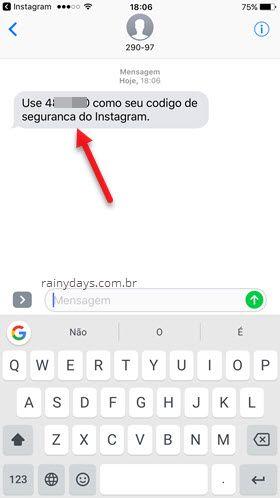 SMS Instagram com código de segurança