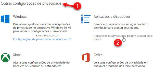 Aplicativos e serviços que podem acessar seus dados Microsoft