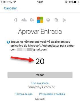 Aprovar entrada na conta Microsoft sem senha