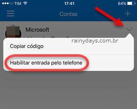 habilitar entrada pelo telefone Microsoft