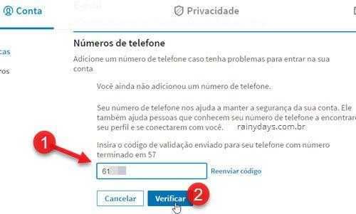 insira código de validação enviado para telefone LinkedIn