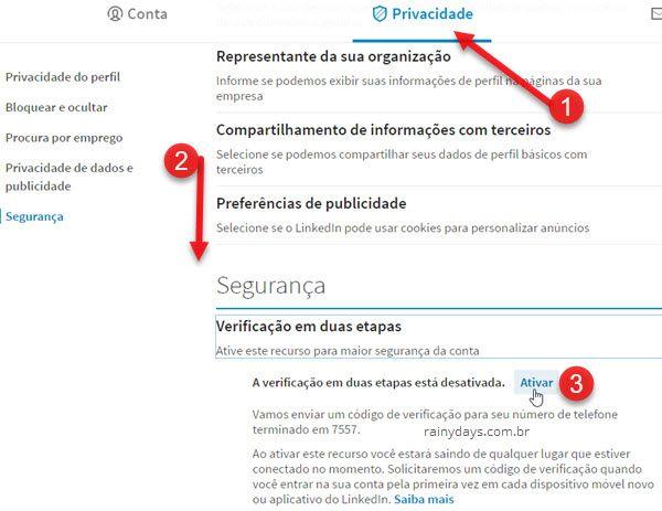Privacidade ativar verificação em dois passos linkedin