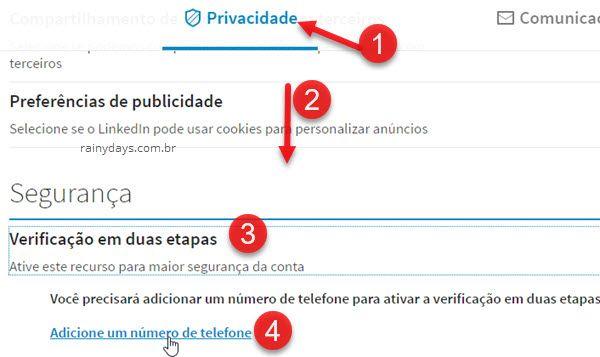 privacidade verificação em duas etapas linkedin-adicione-telefone