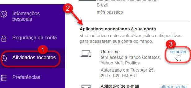 Remover aplicativos conectados à conta Yahoo
