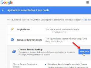 Remover aplicativos e sites da conta Google