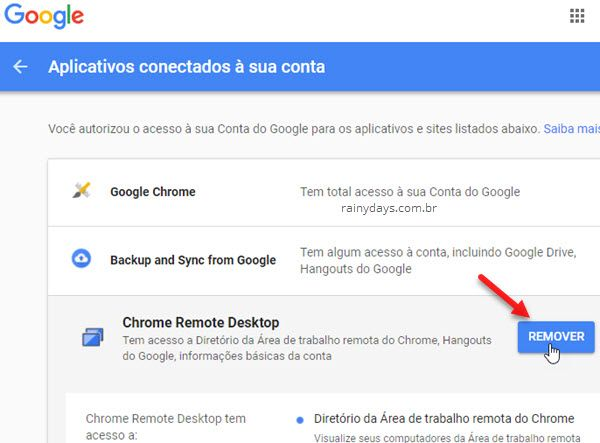Remover aplicativos e sites da conta Google