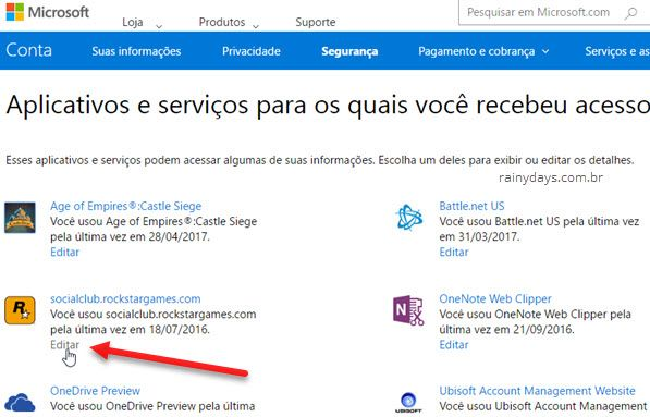 Revogar permissão de aplicativos na conta Microsoft Outlook