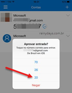tocar no número correto para entrar conta Microsoft