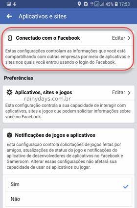 apps e sites Conectado com o Facebook Android