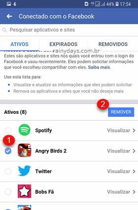 apps e sites conectados no aplicativo Facebook Remover