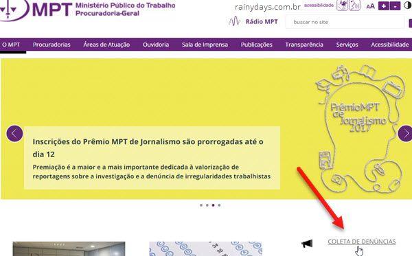 coleta de denúncias Ministério Público do Trabalho