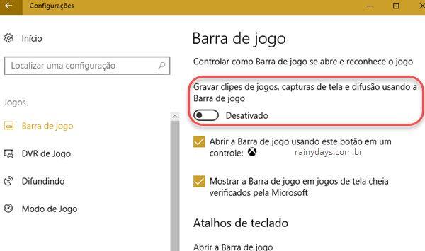 Como desativar Barra de Jogo do Windows 10