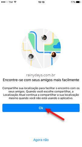 compartilhar localização com amigos Messenger