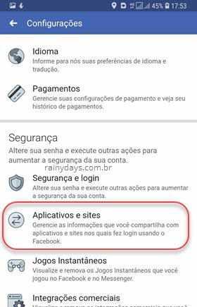 configurações Aplicativos e sites Facebook Android iOS