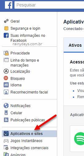 Configurações Aplicativos e Sites Facebook