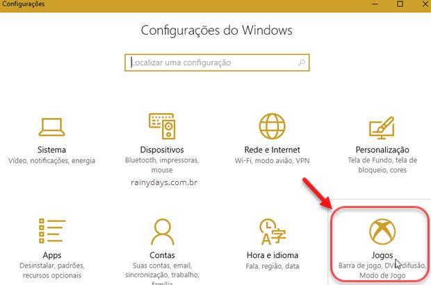 Configurações de jogos Windows 10
