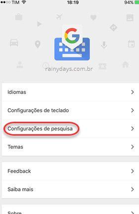configurações de pesquisa Gboard iOS
