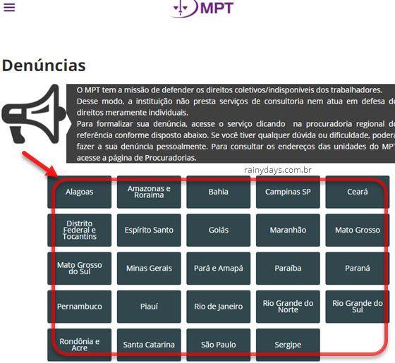 Denúncias ambiente de trabalho MPT regionais estados