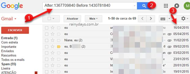 Como filtrar emails por data e hora no Gmail ou Inbox