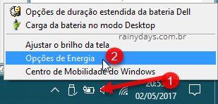 ícone bateria Opções de Energia Windows