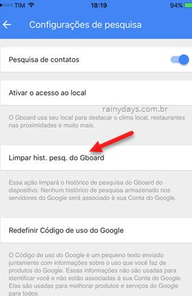 Limpar histórico de pesquisa Gboard iPhone